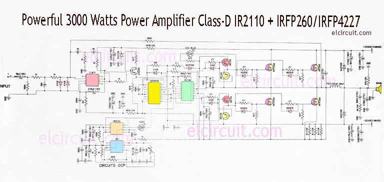 3000 watts power amplifier class d mosfet irfp260 irfp4227 in 2019circuit diagram class d powerful amplifier