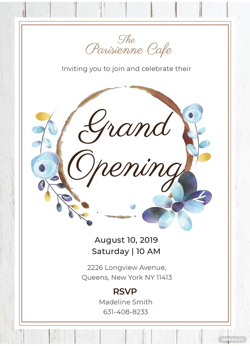 Free Cafe Opening Ceremony Invitation Grand Opening Invitations