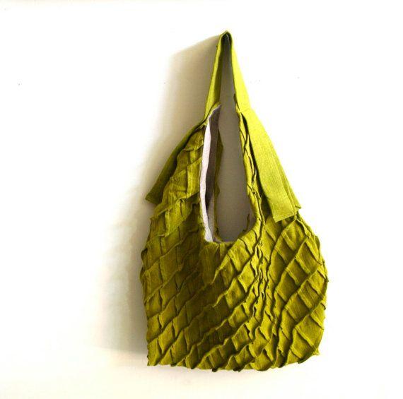 Lax - chartreuse lino tote bag - testurizzati borsa