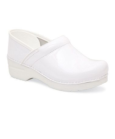 White Patent Leather Professional Clog