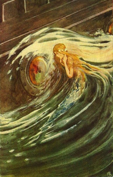 Hans Christian Andersen's fairy tale, The Little Mermaid. Caption reads: 'The little Mermaid watches' (little mermaid in the seafoam). HCA: Danish author. 2 April 1805 – 4 August 1875. Illustrated by Helen Stratton.