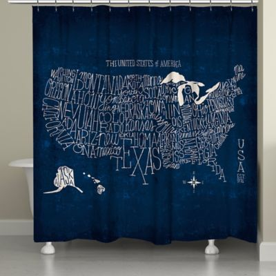 Laural Home Us Map Blueprint Shower Curtain In Blue Curtains