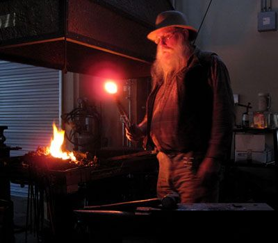 Chuck Patrick at the forge at the John C. Campbell Folk School | folkschool.org