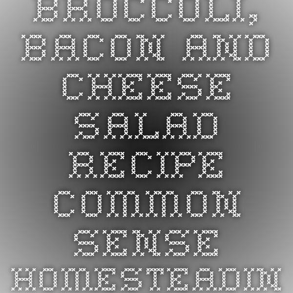 Broccoli, Bacon and Cheese Salad Recipe - Common Sense Homesteading