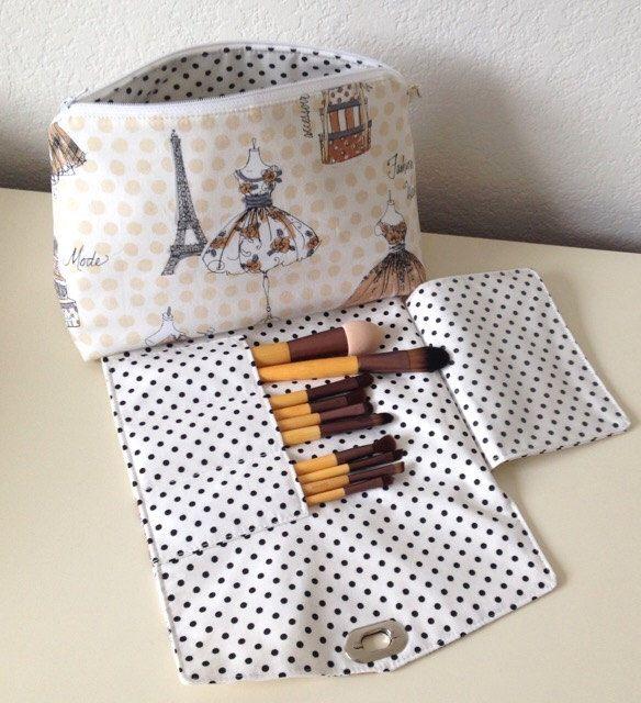 dbda18e8ae Makeup bag with brush holder - makeup bag organizer - travel makeup bag -  light yellow