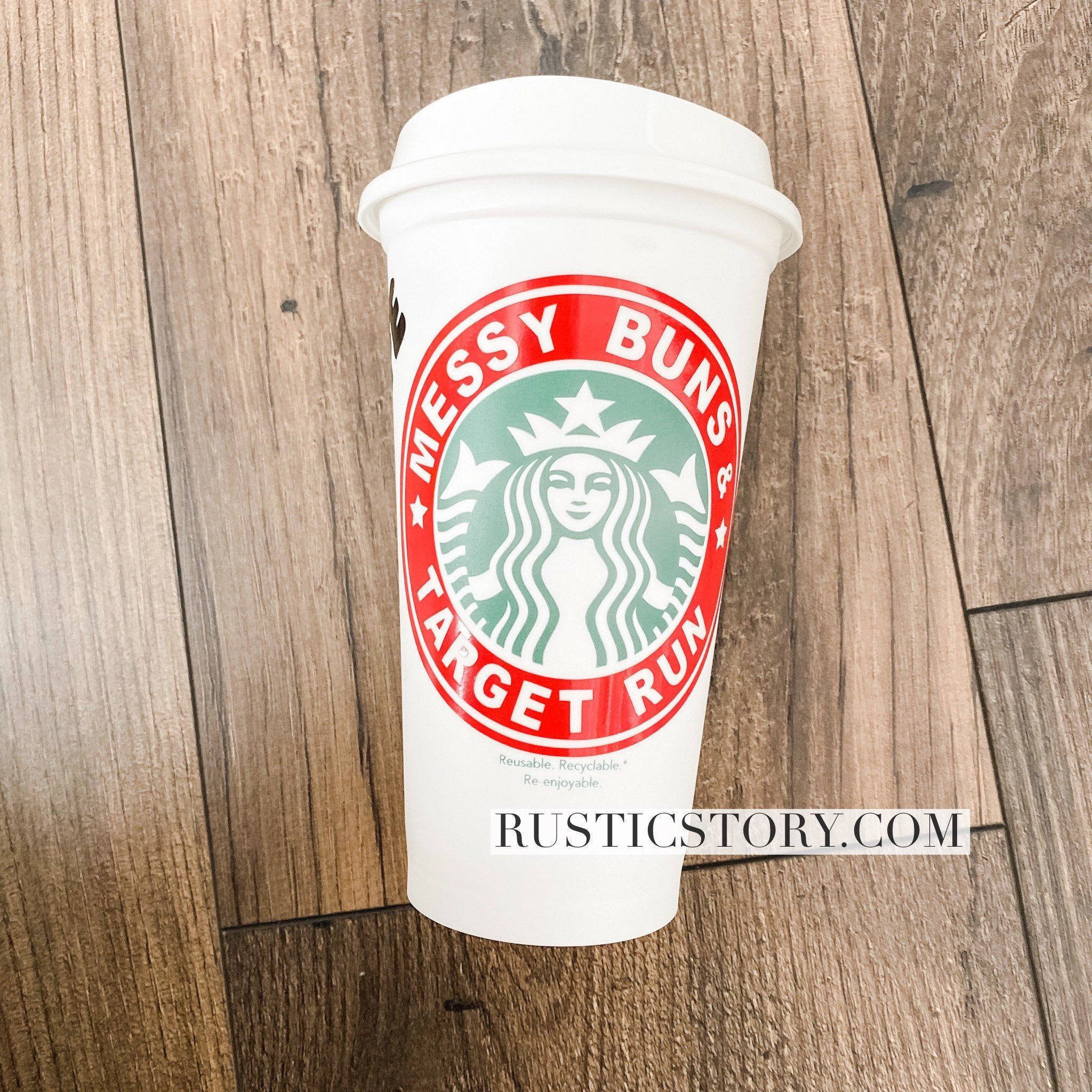 Starbucks cups / Messy bun Targét run/ Mom Life