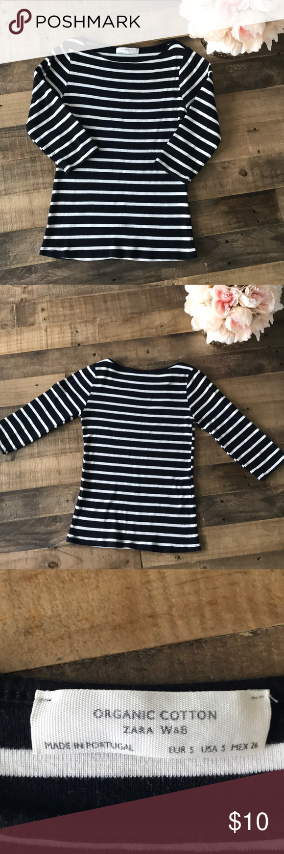 bf023240f0 Zara W&B Organic Cotton Top Size Small • In good condition with normal use  from wear. • Smoke Free Home • Has piling. • 3/4 Sleeves Zara Tops
