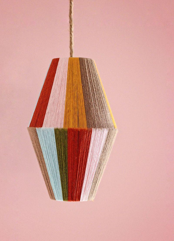 Make a color blocked pendant lamp decoracin diy cosas para hacer diy woven lampshade by honestlywtf aloadofball Image collections
