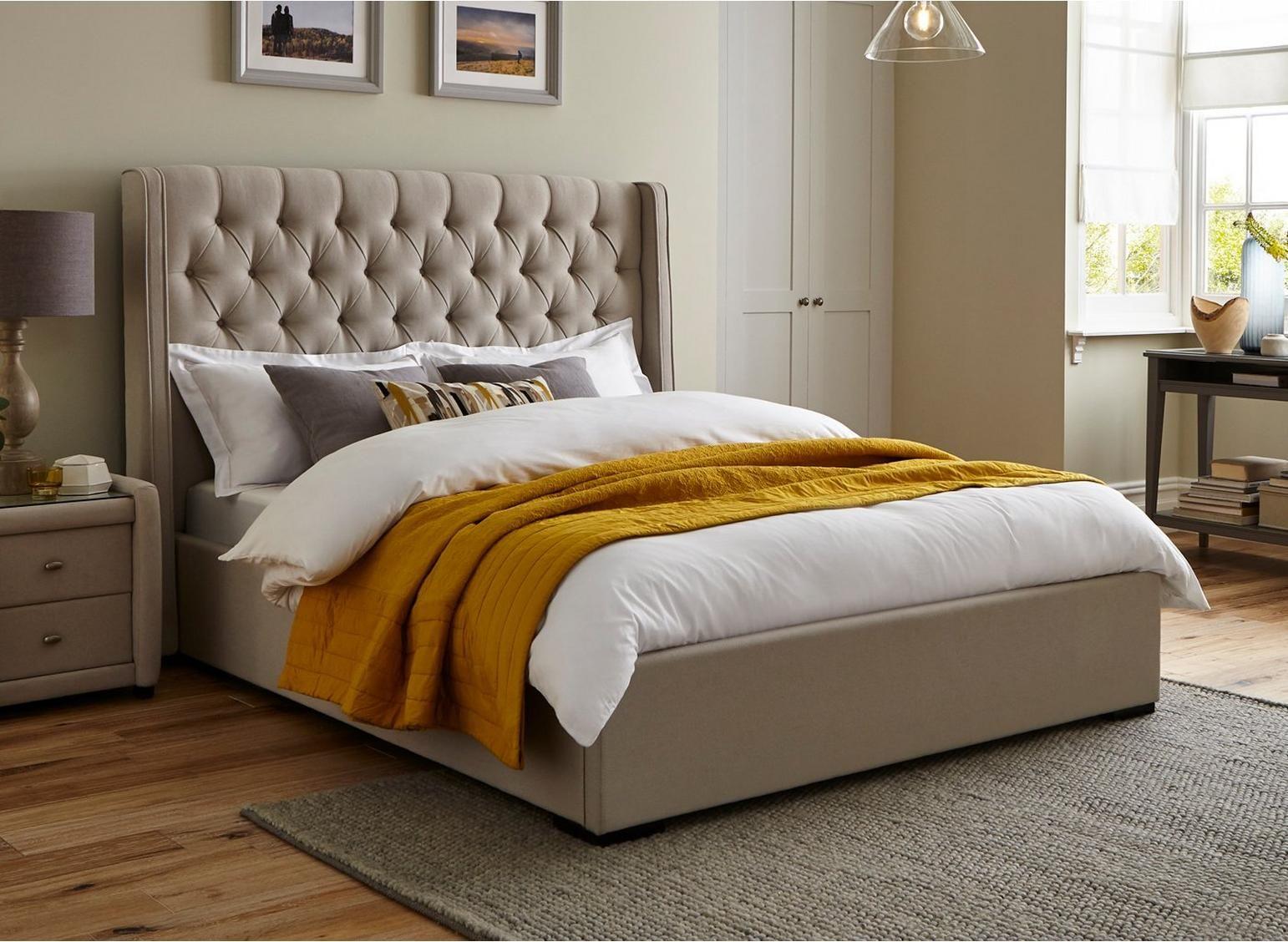 Deacon Upholstered Bed Frame in 2020 Velvet upholstered