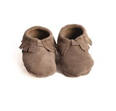 Suede Baby Moccasins-Gris