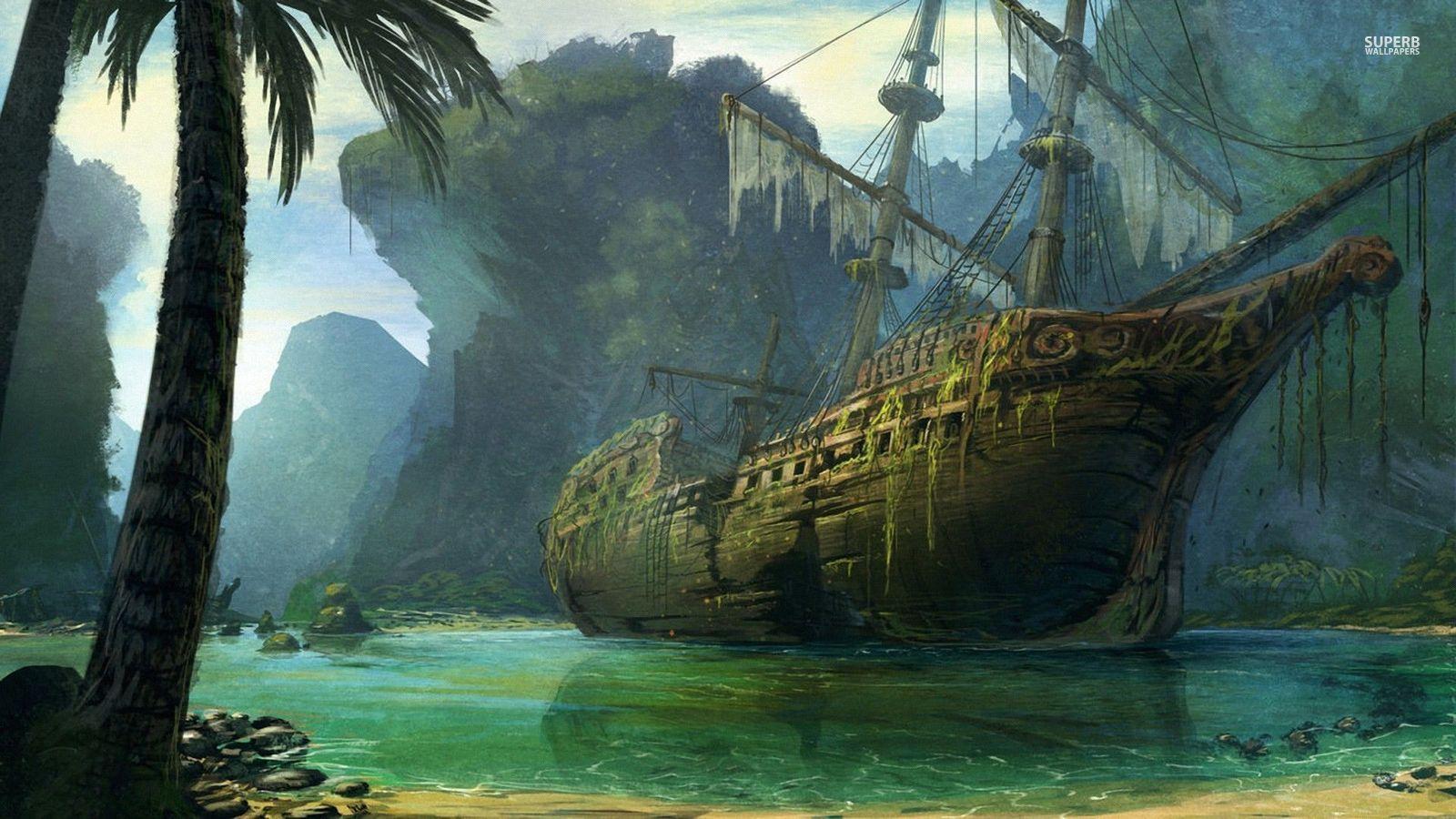 Fantasy ship cliff jolly roger pirate ship rock lightning wallpaper - Fantasy Pirate Ship Google Keres S