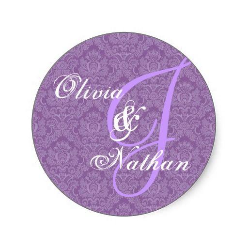#Purple #White #Wedding #Damask #Monogram #Sticker