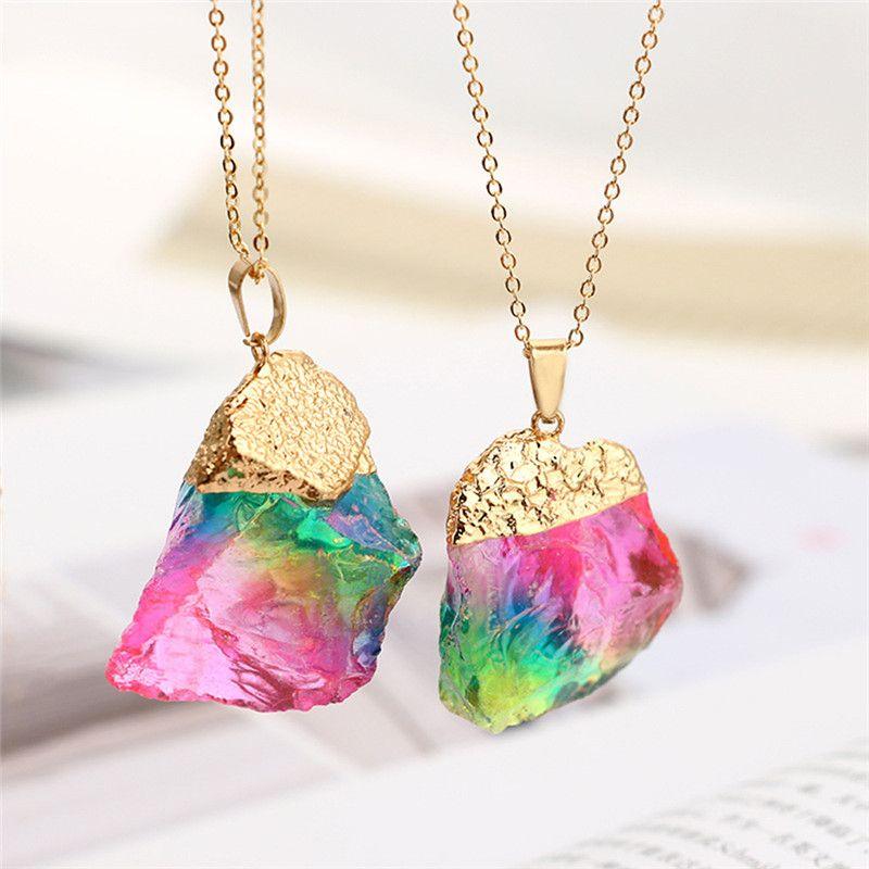 galaxy crystal aura crystal pendant titanium quartz necklace Raw rainbow quartz necklace wire wrapped gold pendant bohemian jewelry