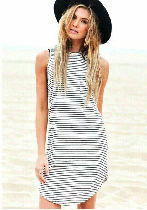 White-Black Striped Pockets Irregular Sleeveless Dacron Midi Dress - Dresses