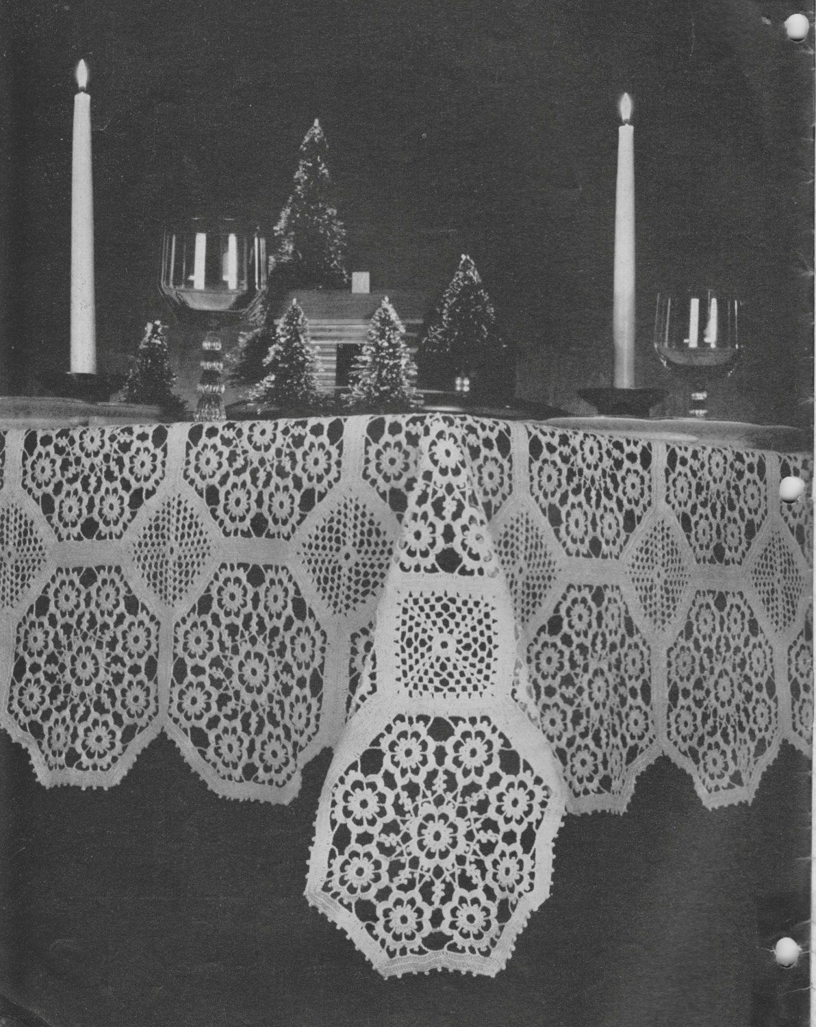 352 Tablecloth Crochet Pattern, Retro Home Decor, Dining Table ...