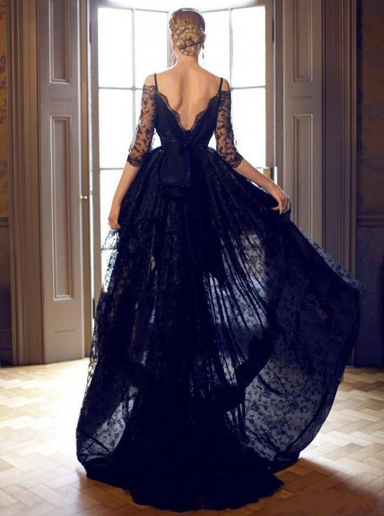 Black Short Front Lace Wedding Wedding Dresses Bridal Gowns Black Lace