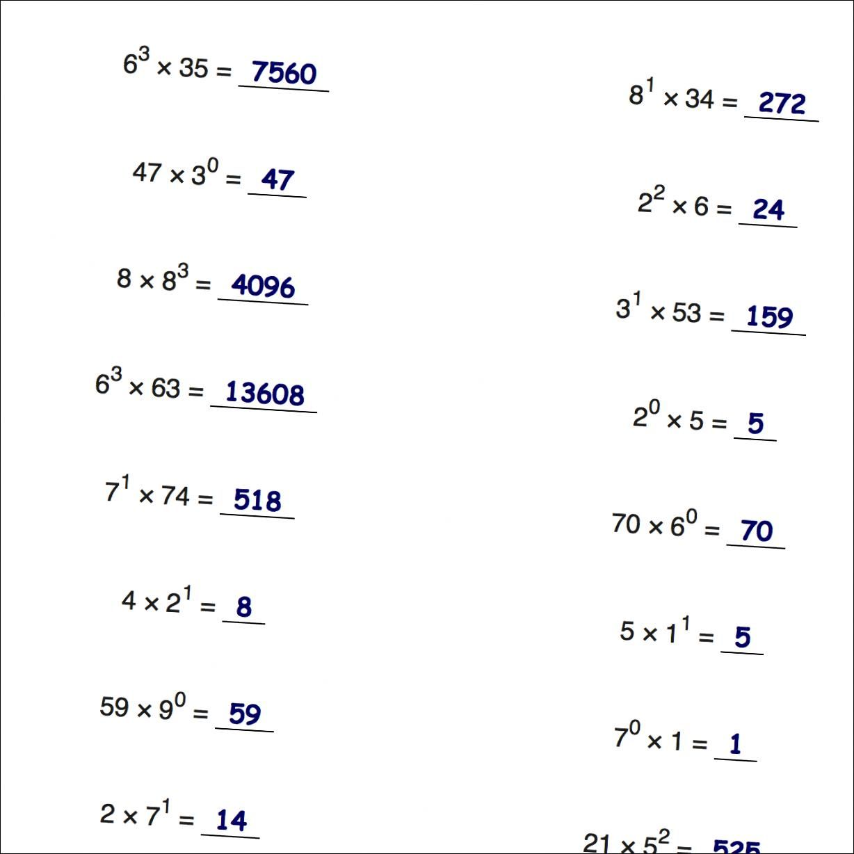 Math Worksheets Multiplication With Exponents