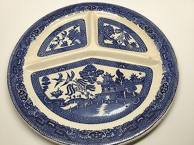 $19.00 Anitque Vintage Flow Blue Willow Divided Dinner Plate England 712950 & $19.00 Anitque Vintage Flow Blue Willow Divided Dinner Plate England ...