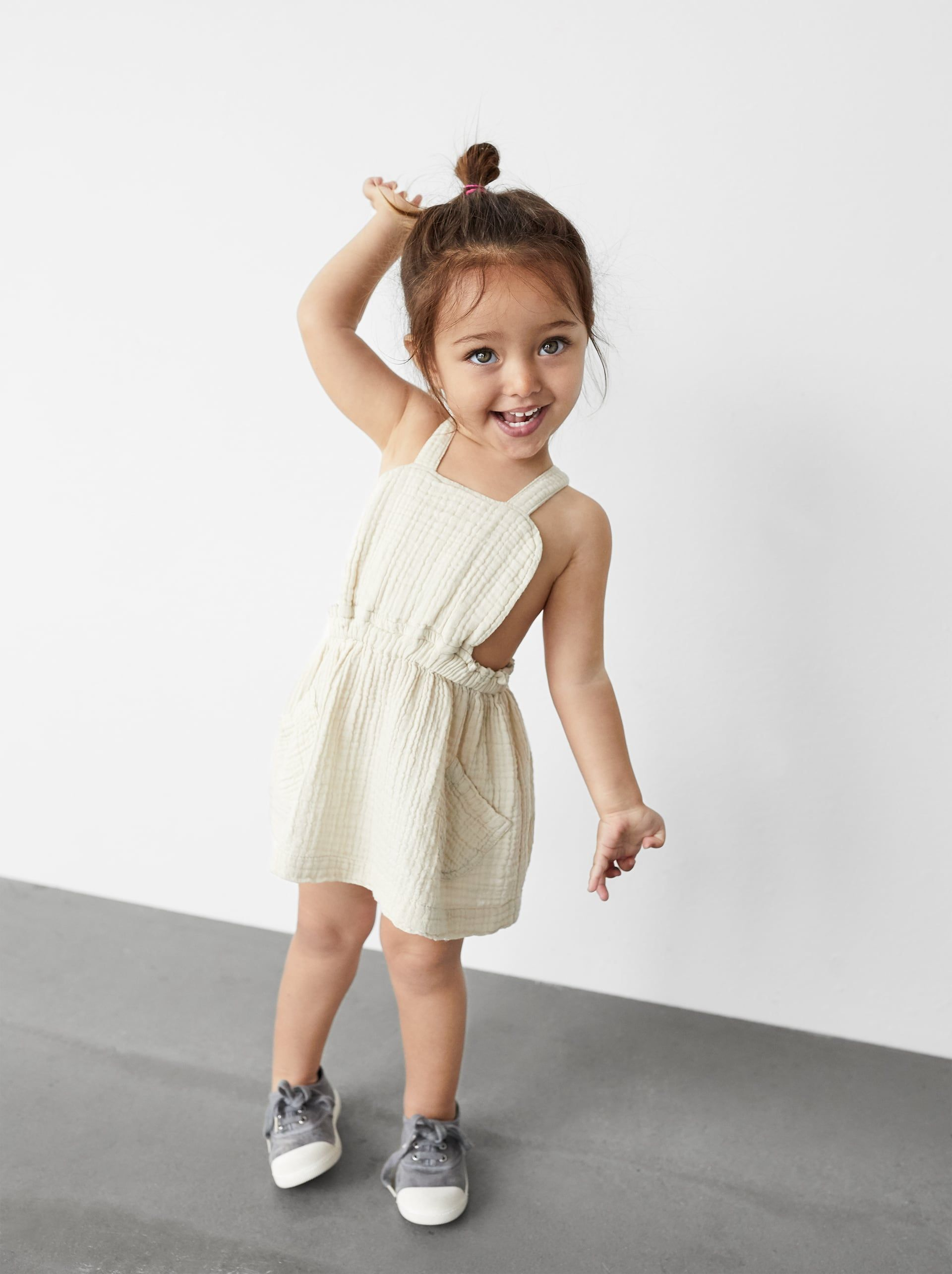 Muslin Pinafore Dress With Pockets Item Available In More Colors Toddler Girl Outfits Kids Outfits Cute Baby Clothes