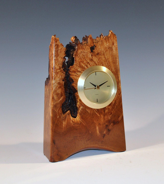 Natural edge maple burl wood tower clock by SilverfoxWoodStudio