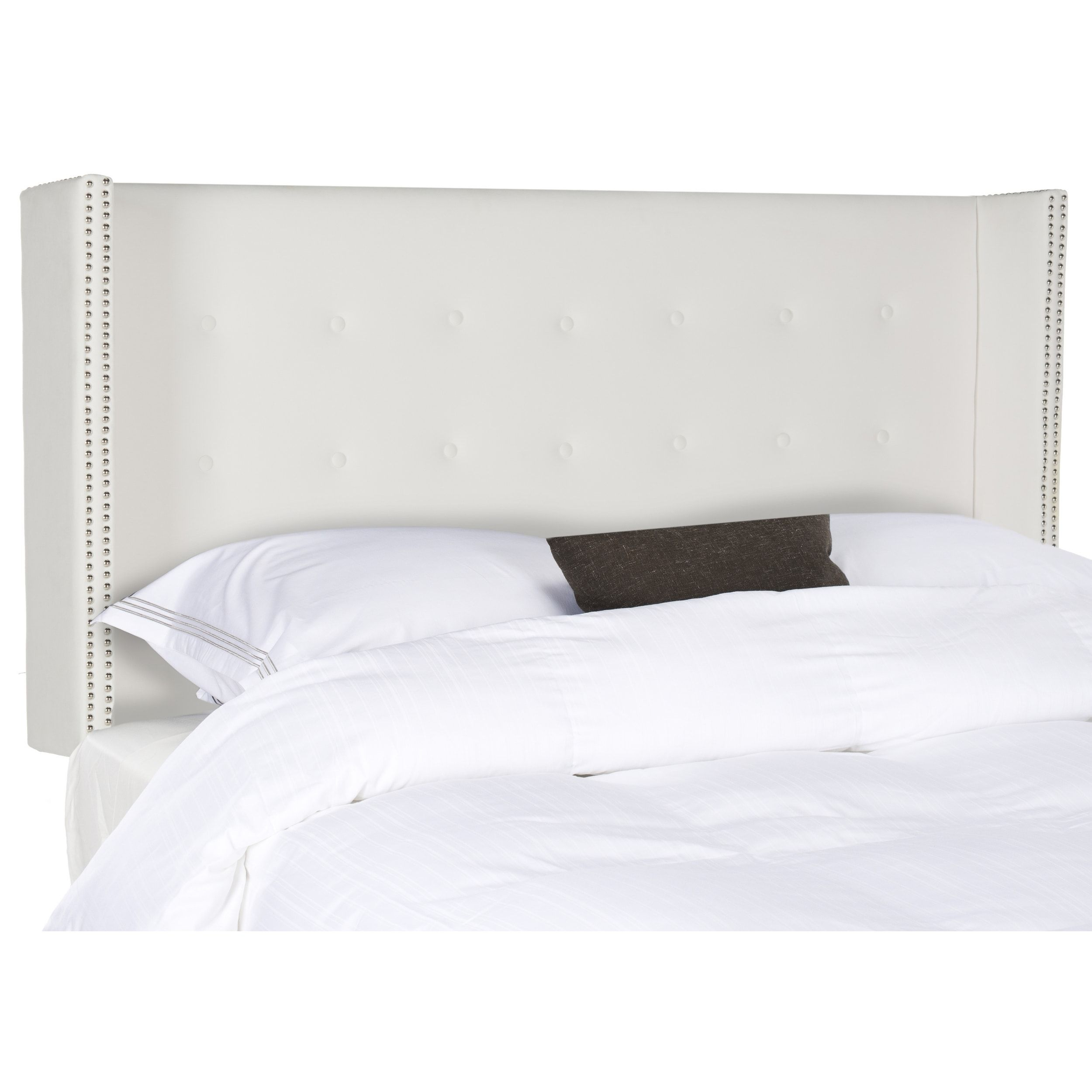 Safavieh Keegan White Velvet Upholstered Tufted Wingback Headboard Queen Ping The Best Deals On Headboards
