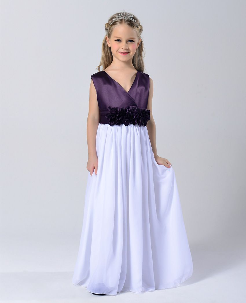 Fashion Children Party Wear 3 Colors Wrap Neck Teenage Gowns For