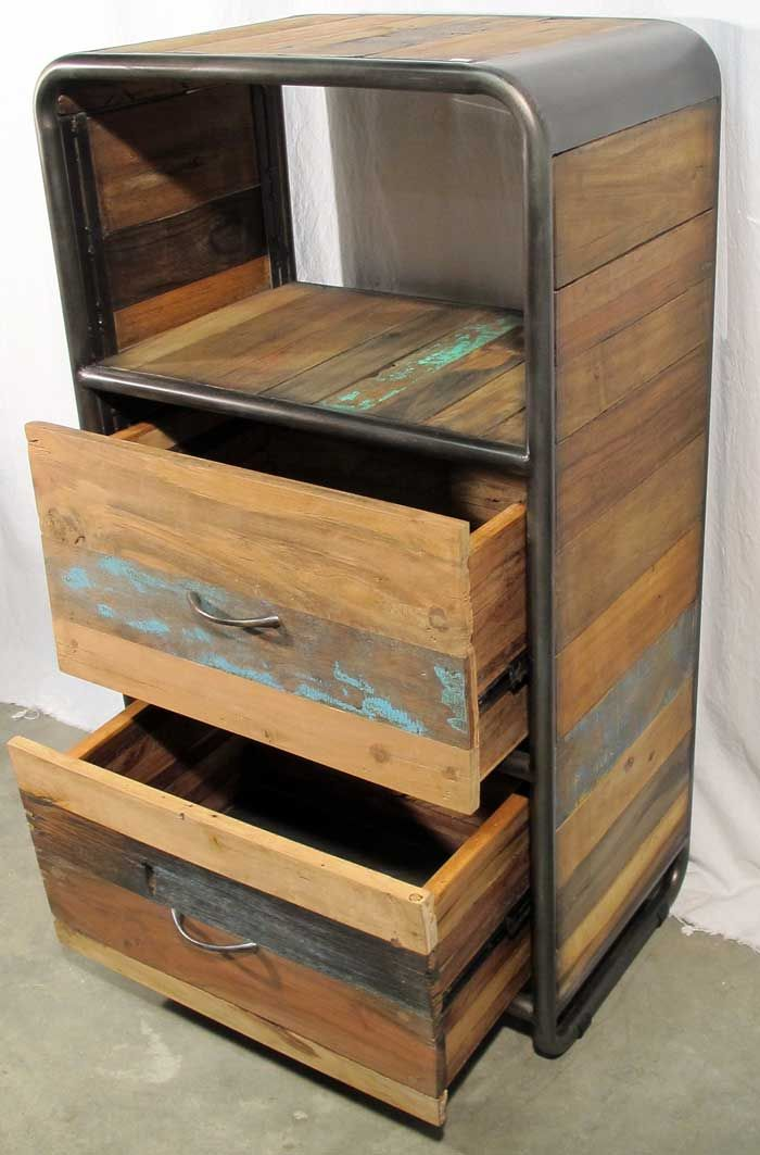 Retro Style Dresser with 2 drawers and 1 open shelf area made from reclaimed salvaged outrigger canoe fishing boat wood and steel.