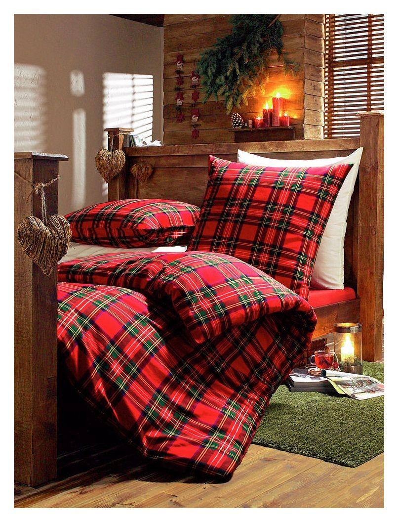 Rustic Bed Frame And Tartan Bedding Red Bedroom Design Bedroom Red Christmas Bedroom Red plaid bedroom ideas