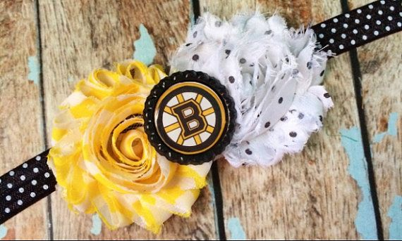 BOSTON BRUINS shabby flower headband NHL by ASerendipityBowtique, $8.00