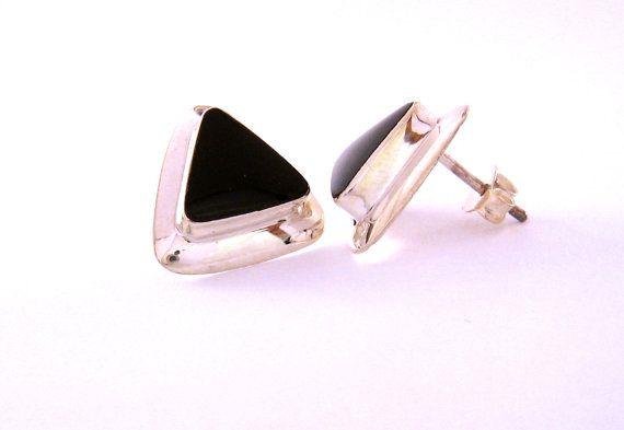 Silver Jewelry Vintage Modernist Designer Onyx door MasCollected, $43.00