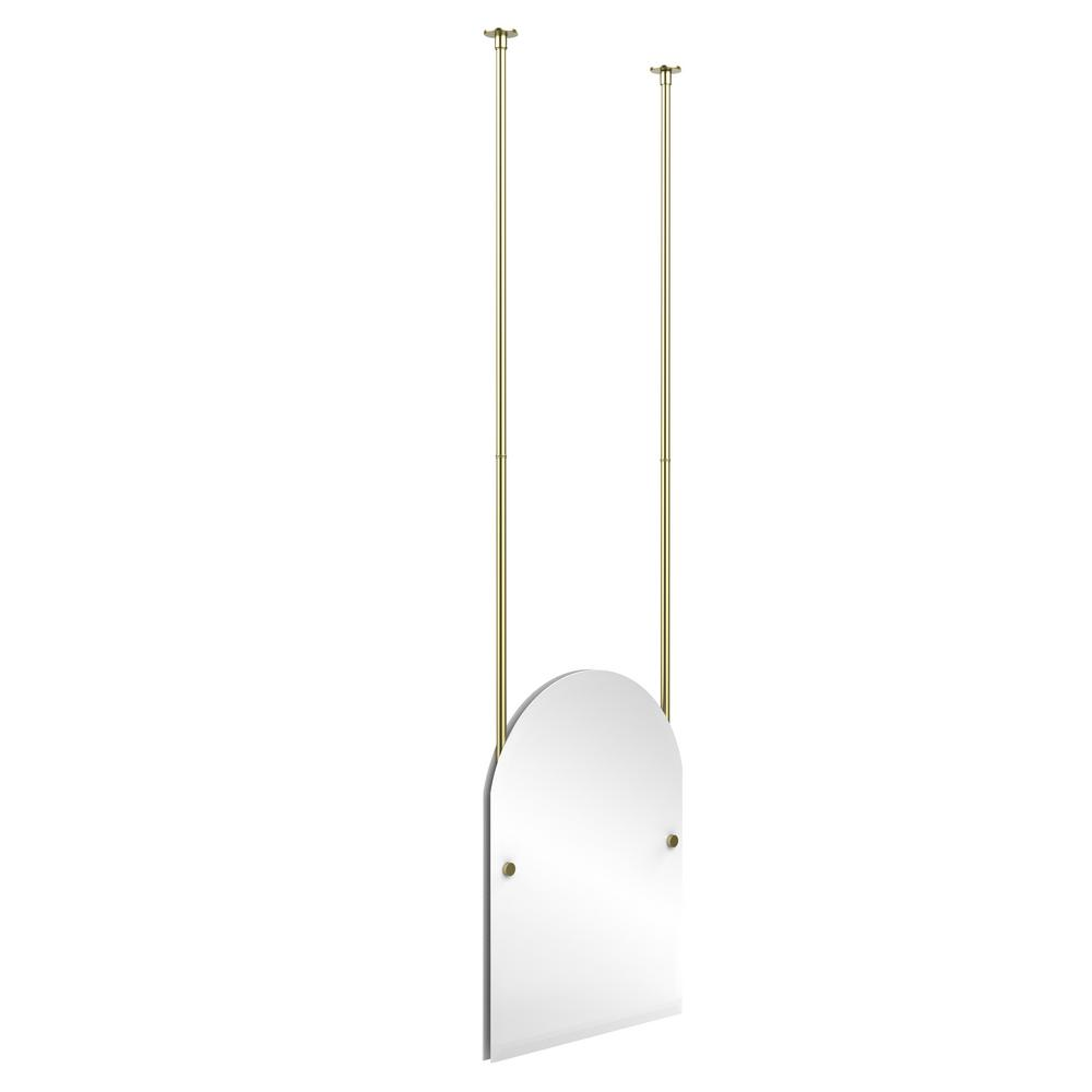 Allied brass frameless arched top ceiling hung mirror