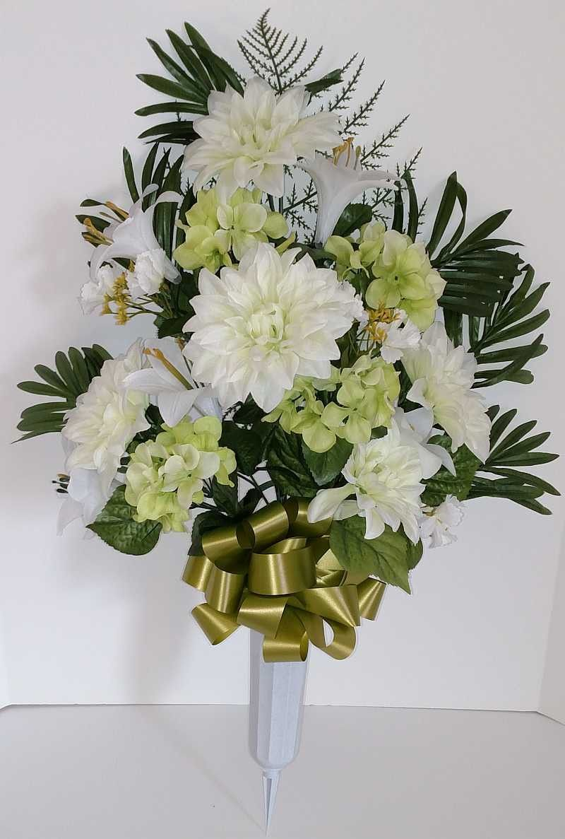Mixed Dahlia Cemetery Vase With White Flowers In 2018 Florals