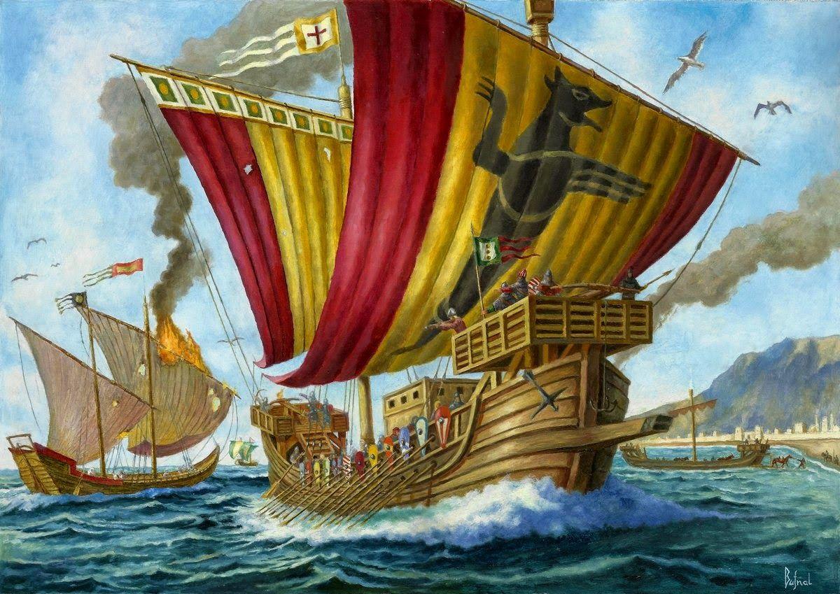 Palermo, 1071, los normandos vencen a una flota musulmana, por cortesía de Dariuz Bufnal. Más en www.elgrancapitan.org/foro