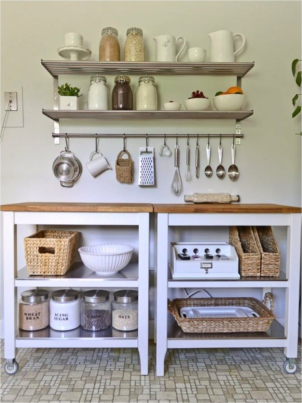 Ikea Hack Bakers Rack Kitchen Wall Storage Apartment Kitchen