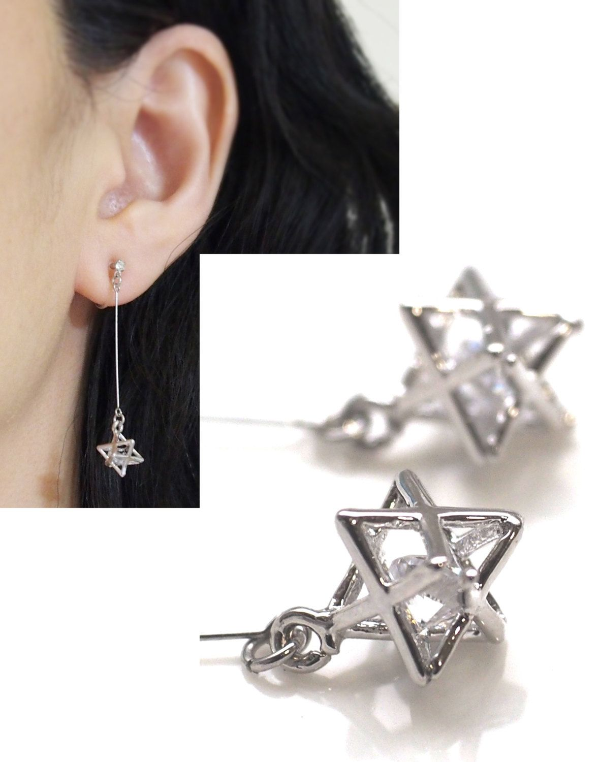 Cubic Zirconia In Silver Stars Invisible Clip On Earrings Dangle Rhinestone Non