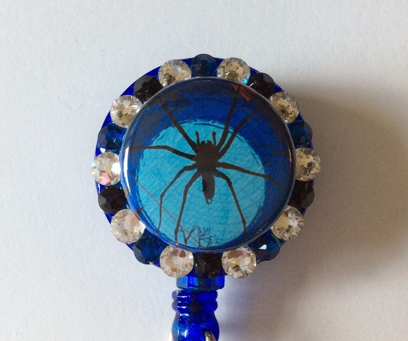 Halloween Spider Decorative Badge/ID Holder with Charms/Beads by Lindasbadgeboutique on Etsy