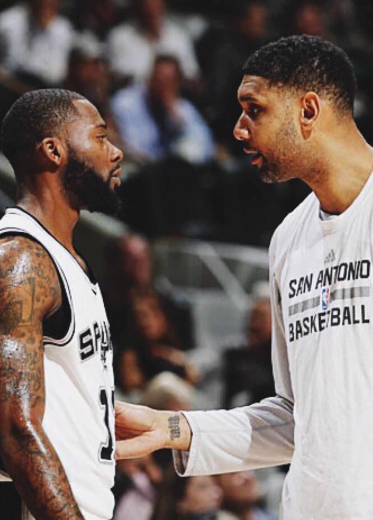 Always teaching. Spurs Jonathon Simmons and Tim Duncan | San ...