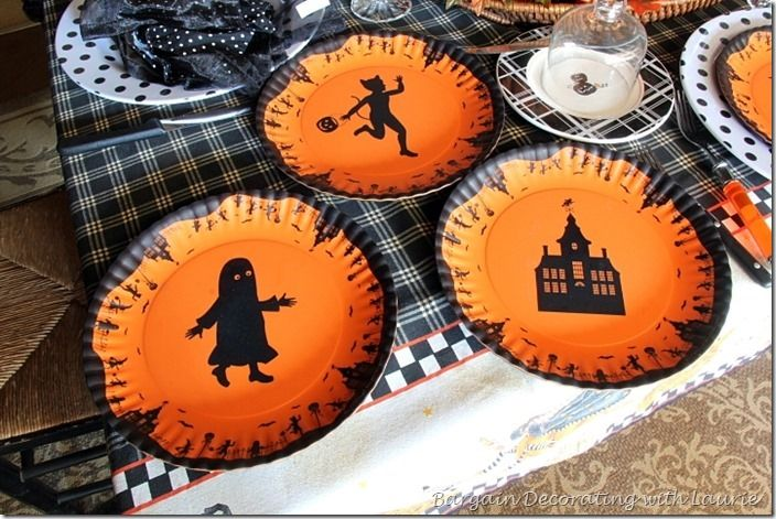 Halloween salad plates are also melanin, made by Glitterville.