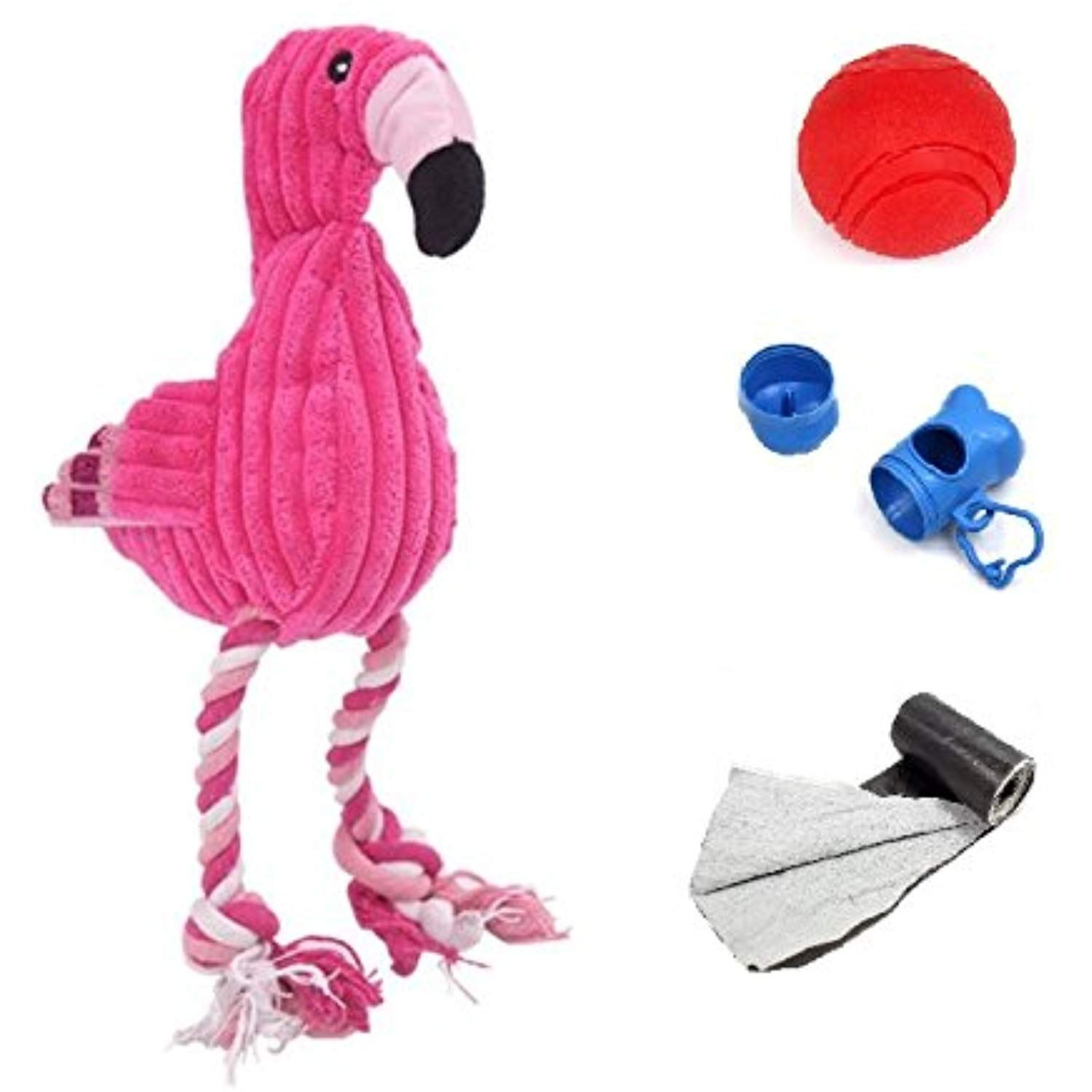 Afuby Dog Squeaky Toys Rope Toys Pet Knots Plush Toys 16 5 Pink