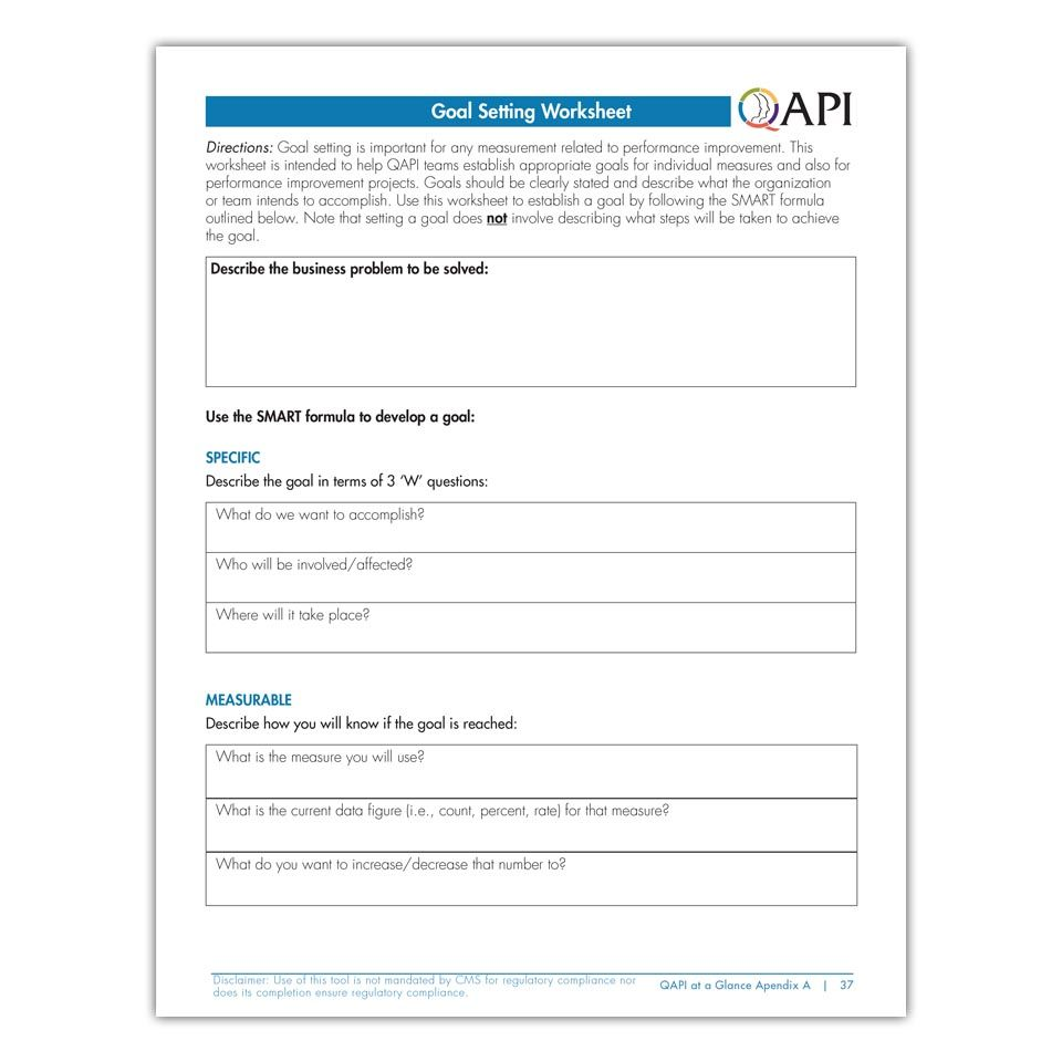 worksheet Goal Setting Worksheets qapi goals setting worksheet for nursing home teams pinterest and goal worksheet