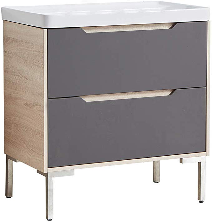 Vccucine Modern 32 Inch Gray And Beige Stand Bathroom K Vanity 2 Drawer Bathroom Combo Cabinet With Ce In 2020 Modern Bathroom Cabinets Modern Bathroom Grey And Beige