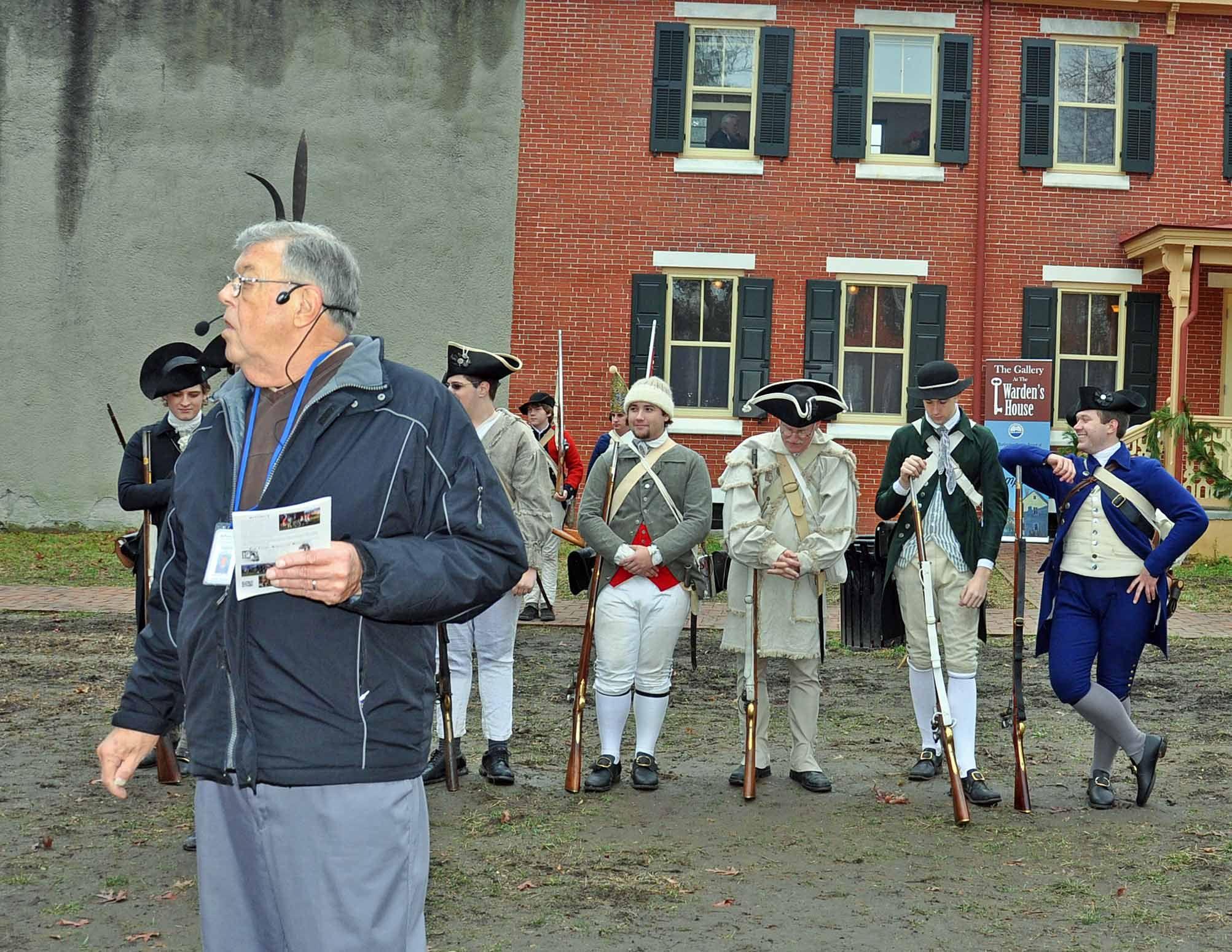 "Burlington County Historian Joe Laufer prepares to narrate the ""battle"""
