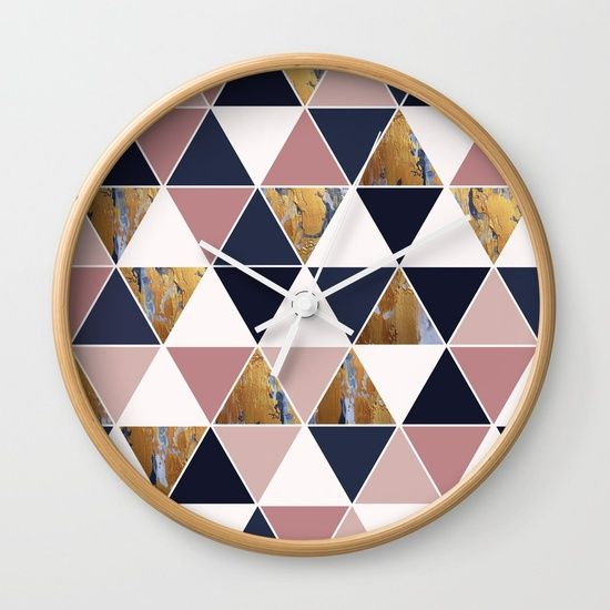 Wall Clock | Triangles | Geometric | Navy Rose Gold | Fox and Ivy Studios