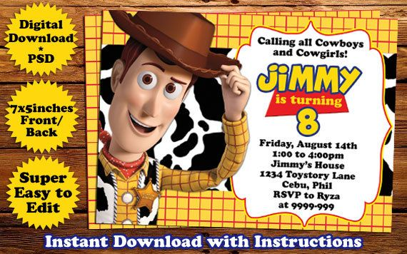 INSTANT DOWNLOAD Toys Story Woody Birthday Invitation Template - birthday invitation card template photoshop