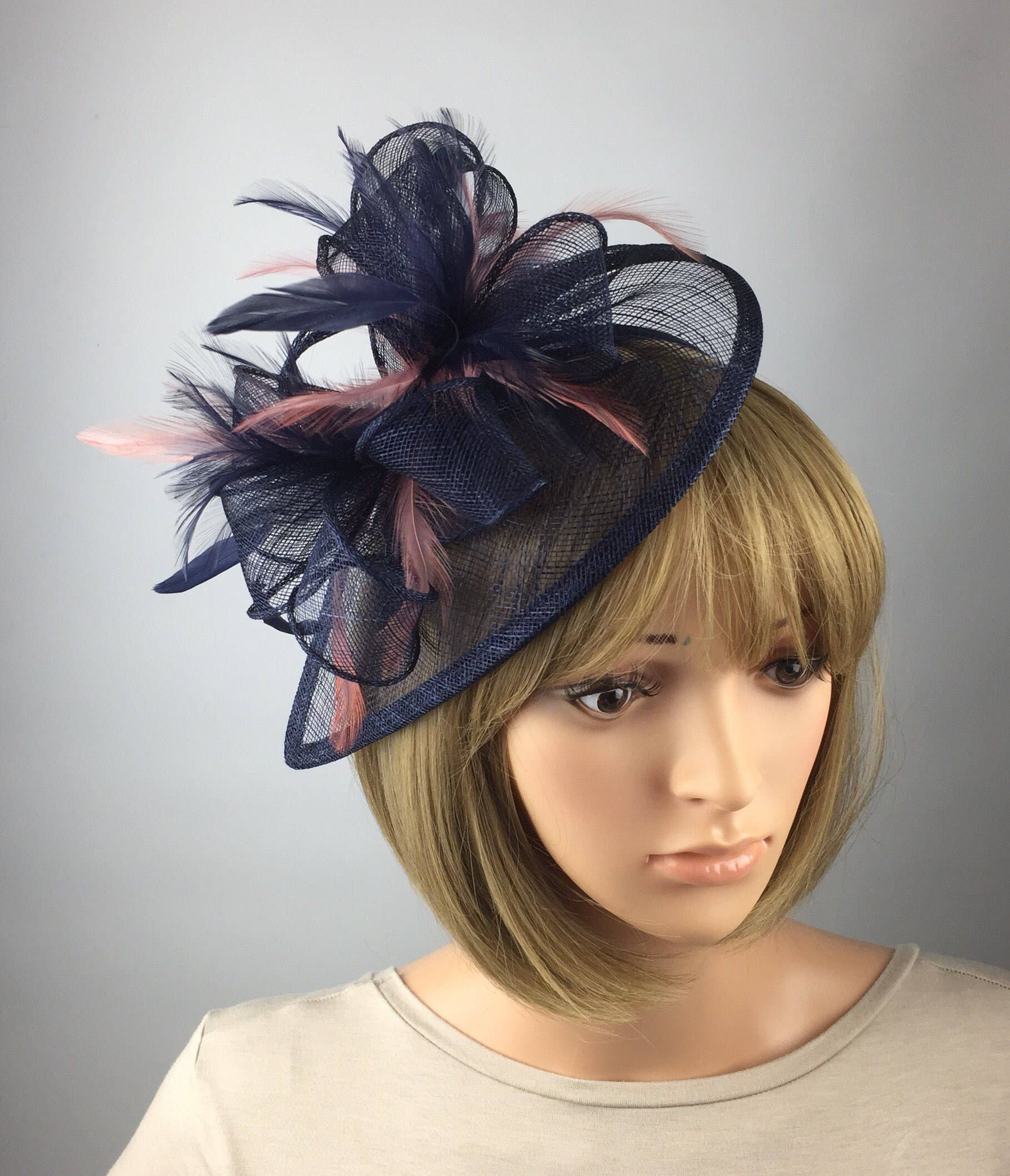 59a895f5e880c ... the latest addition to my  etsy shop  Dark Blue Navy Blue and blush  pink Fascinator Sinamay Fascinator wedding mother bride Ladies Day   Ascot  races