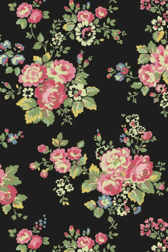 Flowers And Black Background Vintage Flowers Wallpaper Pink Flowers Wallpaper Flower Wallpaper
