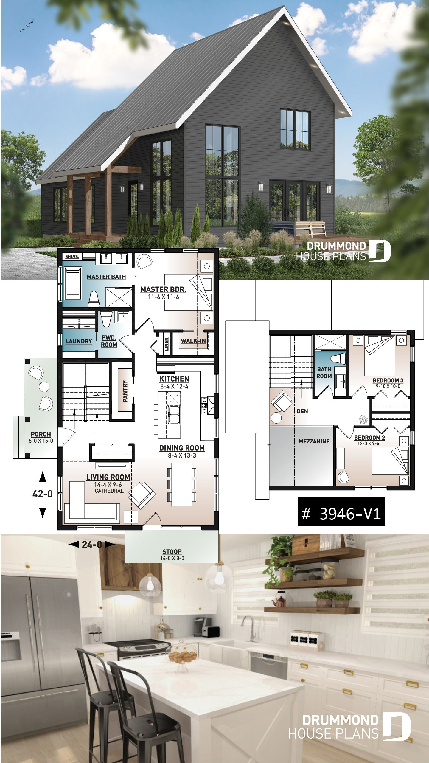 Discover The Plan 3946 V1 Willowgate 2 Which Will Please You For Its 3 Bedrooms And For Its Scandinavian Styles In 2020 Cottage Floor Plans Modern Cottage Modern House Plans