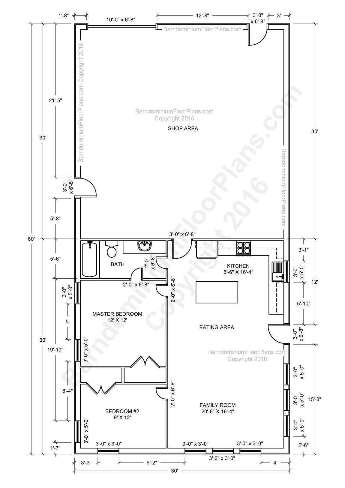 House Shop Combo Plans Barndominium Floor Plans Pole Barn House Plans Shop House Plans