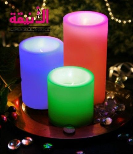 شموع رومانسية بريموت كنترول السعر S R 155 اناقة منزلك متجر الأنيقة مصنوعة من مادة البارافين لتشابه الشمع الحقيقي تعمل ب Pillar Candles Candles Moon Candle