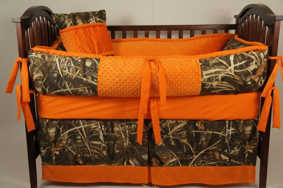 Max 4 Hd Custom Made Baby Crib Bedding Camo With Orange Realtree